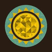 Golden sun in retro style with triangles. — Stock vektor