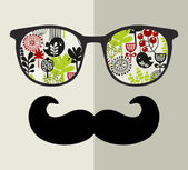 Retro sunglasses with reflection for hipster. — Stock Vector