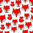 Seamless pattern with hipster fox. — Stock Vector #45361057