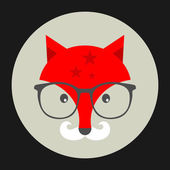 Hipster emblem with fox in glasses. — Stockvektor