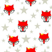 Seamless pattern with hipster foxes. — Stock Vector