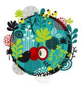 Flower ball with cute little bird. — Vector de stock
