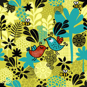 Seamless pattern with sweet couple of birds. — Stock Vector