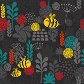 Seamless pattern with flowers and bees. — Stock Vector