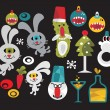 Set of cute and funny monsters for Christmas. — Stock Vector #6466642