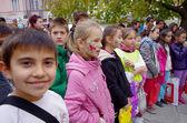 Dzieci z pomalowanymi twarzami. — Zdjęcie stockowe