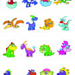 Stock Vector: Collection of cute baby dinosaurs