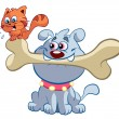 Cat and dog with big bone — Stock Vector #27385571