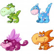 Collection of cute baby dino's — Stock Vector