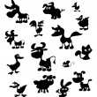 Collection of cartoon farm animal silhouettes — Image vectorielle