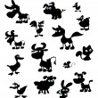 Stock Vector: Collection of cartoon farm animal silhouettes