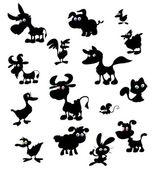 Colección de siluetas de animales de granja dibujos animados — Vector de stock
