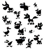 Collection of cartoon farm animal silhouettes — Cтоковый вектор
