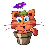 Cute red cat in flower pot — Stock Vector