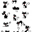 Collection of black cat silhouettes — Stock Vector #27390077