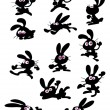Collection of fun rabbit silhouettes — Vettoriali Stock