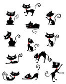 Collection of black cat silhouettes — Stock Vector