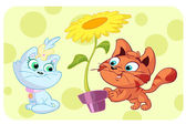 Carino gatto rosso dà il girasole di kitty — Vettoriale Stock