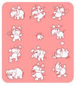 Raccolta di simpatici gli elefanti rosa — Vettoriale Stock