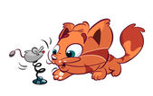 Cute red cat playing with toy mouse — Stock Vector