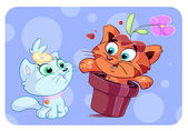 Cute red cat's surprise — Vector de stock