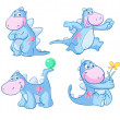 Cute blue dino — Stock Vector