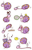 Cute purple snail — Stock Vector