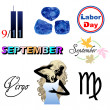 September Icons — Stock Vector