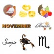November Icons — Stock Vector
