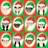 Christmas Hat Kid Faces — Stock Vector