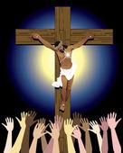 Jesus Cross Crowd — Stock Vector