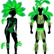 Постер, плакат: Carnival couple green
