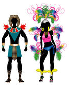 Carnival Silhouette Colorful Couple — Stock Photo