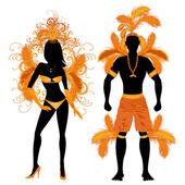 Carnival Silhouette Orange Couple — Stock Vector