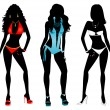 Swimsuit Silhouettes — Stock Photo