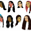 Indian, Arab and Native American Women Faces — Stock Photo