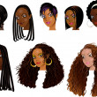 Stock Vector: Raster version Illustration of Black Women Faces