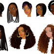 Raster version Illustration of Black Women Faces — Stock Vector