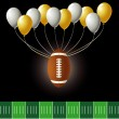 Stock Vector: Vector Illustration of football design with party balloons and yard line.