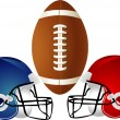 Stock Vector: Raster version Illustration of football design with helmets.
