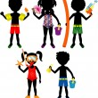 Raster version Illustration of 5 different summer kids dressed for beach or pool — Stockvektor