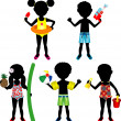 Raster version Illustration of 5 different summer kids dressed for beach or pool — Stock Vector #28281527