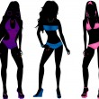 Stock Vector: Swimsuit silhouette women