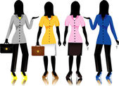 Career business women in suits, raster version Illustration. — Stock Vector