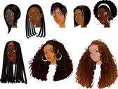 Ilustración versión rasterizada de caras de mujeres negras — Vector de stock