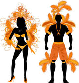 Couple for Carnival Costume Silhouettes — Stock Vector