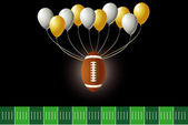 Vector Illustration of a football design with party balloons and yard line. — Stock Vector