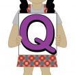 Letter Q Girl — Stockvectorbeeld