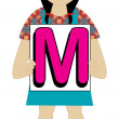 Letter M Girl — Stock Vector