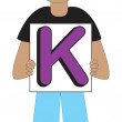 Letter K Boy — Stock Vector
